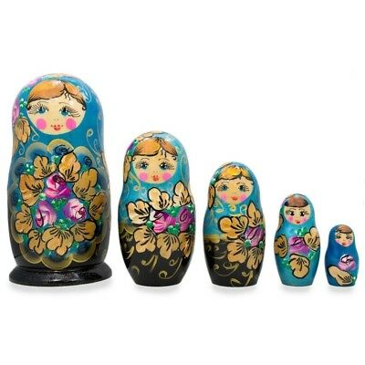 """6"""" Set of 5 Floral Blue and Black Wooden Matryoshka Russian Nesting Dolls"""