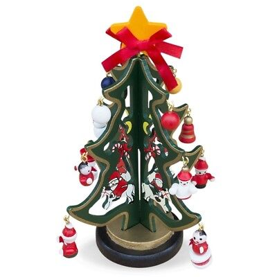 "6.5"" Set of 2 Wooden Tabletop Christmas Tree with 12 Santa, Snowman, Christmas"