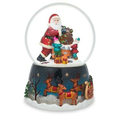 "5.5"" Santa and Elves in a Chimney Music Snow Globe"