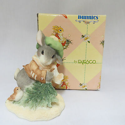 My Blushing Bunnies Wintertime Blessings Rabbit Figurine Christmas Enesco EIB