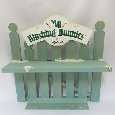 "My Blushing Bunnies Snowy Green Fence Display Wood Enesco 10"" Vintage 1996"