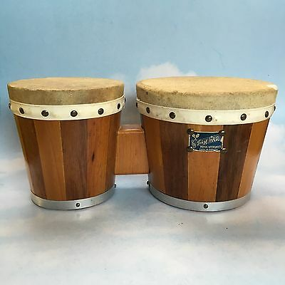 Vintage Zim Car Drums Mexico Leather Top Wooden Bongo Drums Mid Century