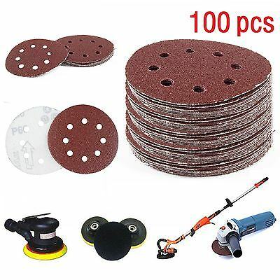 "100pcs 125mm - 5"" Sanding Discs 40 60 80 120 240 Mixed Grit Orbital Sander Pads"