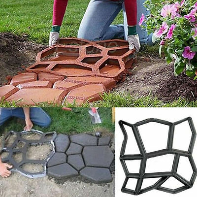 42cm DIY Plastic Path Maker Mold Manually Paving Cement Brick Stone Road Black