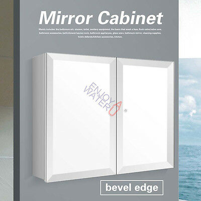 Luxury 900X720X150MM Bevel Edge Mirror Cabinet Shaving Medicine Bathroom Vanity