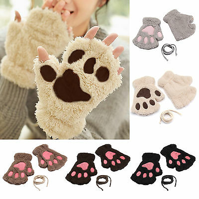 Cat Bear Paw Claw Print Half Finger Gloves Winter Warm Womens Xams Party Gifts