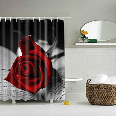 Waterproof Curtain Polyester Bath Shower Drapes w/ 12 Hooks Red Rose Pattern