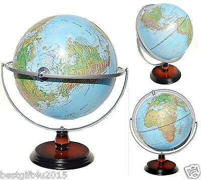 Topographical World Globe Raised Relief Embossed Landform Educational Gift 30cm