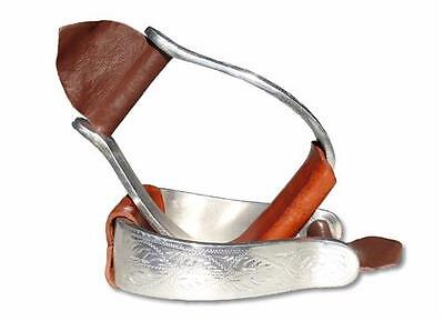 Western Stock Carved Aluminium Stirrups Brown Leather