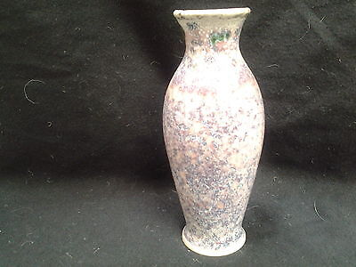 Cobridge Stoneware  Ruskin Style Sponge Ware Blue Pink And Green vase 15cm