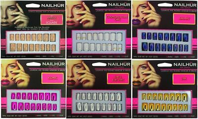 Nailhur Square - Reusable Fake Press Glue On Nails Nude Pink Galaxy Metallic Tip