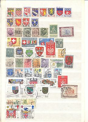 54 used stamps with coats of arms