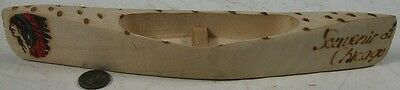 Vintage 1960's Hand Carved Indian Canoe Chicago