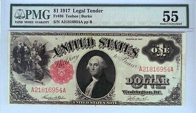 "1917 US Legal Tender Currency note FR 36 PMG 55 Abt UNC ""sawhorse"""