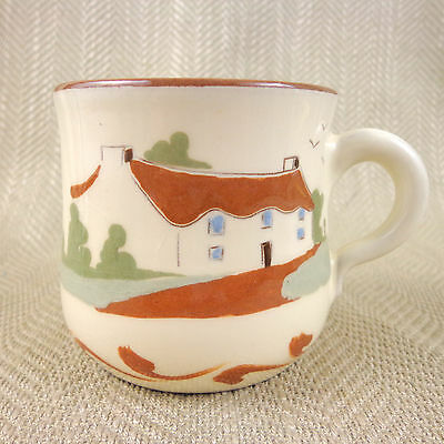Vintage Torquay Pottery Mug Cup Motto Ware  Hand Painted JR Signed Quote