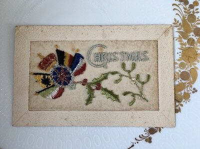 WW1 silk embroidered postcard with Christmas & flags motif