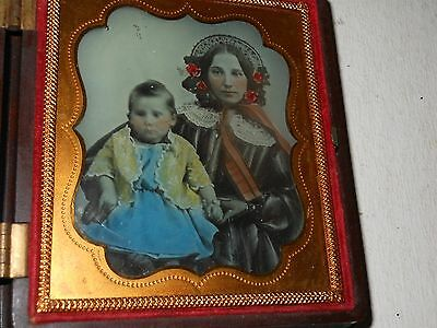 Beautiful Hand Tinted 1/6 Plate Ambrotype & Thermoplastic Case