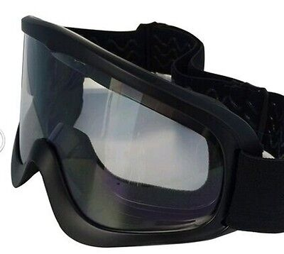 Adult Motocross Atv Enduro Mx Ski Black Goggles Motorcycle Off Road Clear Lens