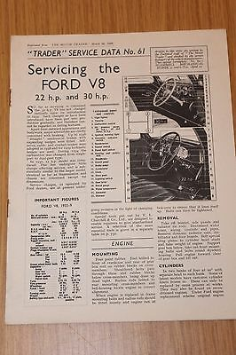 Ford V8 22HP and 30 HP Servicing Data Booklet 1939 Original