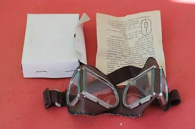 Vintage Authentic Russian Soviet Ussr Aviator Pilot Goggles Glasses Box And Doc.