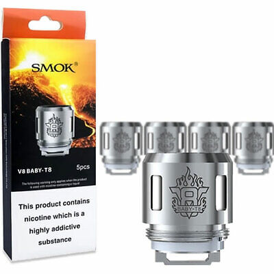 5x Genuine SMOK TFV8 | V8 Baby-T8 Octuple Replacement Coil | The Baby Beast Head