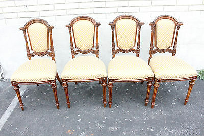 Charming Set of Four Renaissance Revival Black Walnut Dining Room Chairs