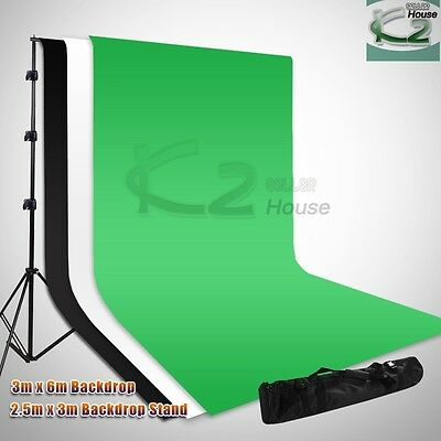 Photography Digital 10x20Ft Screen Muslin Backdrop Crossbar Background Stand Kit