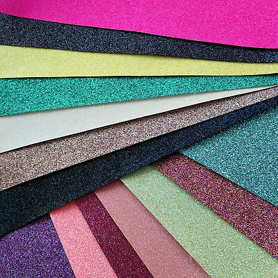 Fine Glitter Fabric A4 Or A5 Sheets In Plain Colours For Hair Bows & Crafts