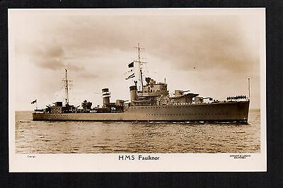 H.M.S. Faulknor - real photographic postcard