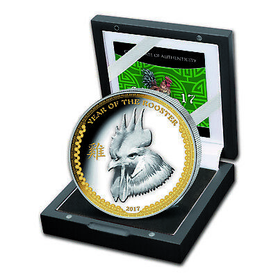 2017 Palau 1 oz Silver $5 Year of the Rooster Ultra High Relief - SKU #102639
