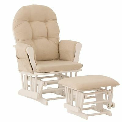 Stork Craft Hoop Glider and Ottoman, White/Beige (06550-611)