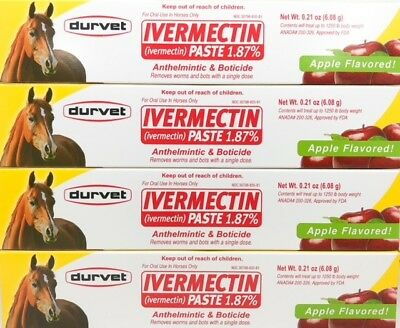 Ivermectin apple flavored paste 1.87% Horse Bot Parasites wormer Equine 4 Tubes