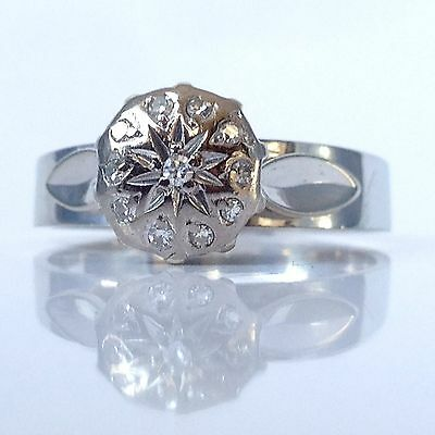 VINTAGE 1940s 18ct White Gold Diamond Engagement Button Ring