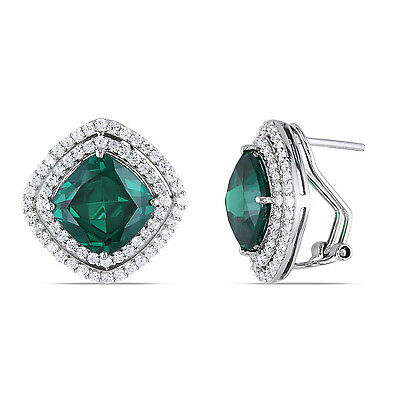 2.59 CTW 925 Sterling Silver 14k White Gold Emerald Halo Stud Omega Earrings