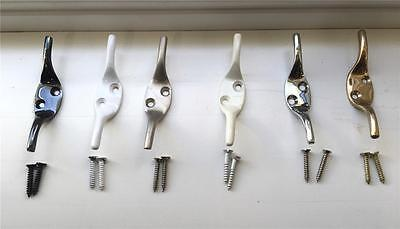 Roman Blind Cleat Hook with matching screws. Available in 6 colours