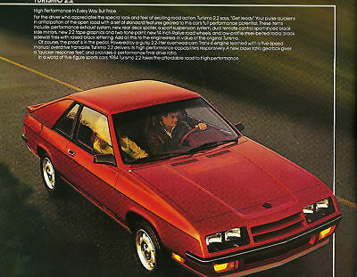 1984 Chrysler Plymouth TURISMO Brochure / Catalog w/Color Chart: 2.2