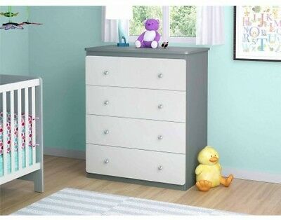 Baby Dresser 4-Drawer Furniture Toddler Nursery White/Gray