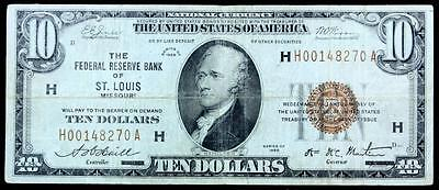 1929 $10 National Currency Note St.louis,missouri,~