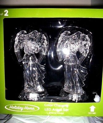 HOLIDAY HOME CHRISTMAS COLOR CHANGING LED LIGHTED ACRYLIC ANGEL SET of 2 NEW