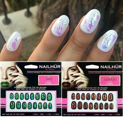 Nailhur Oval Opal - Iridescent Duochrome Reusable Fake Press Glue On Nails Tips