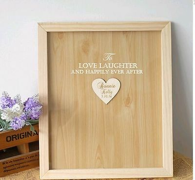 Personalized Engraved Love Rustic Drop Top Wooden Wedding Heart Guest Book Frame