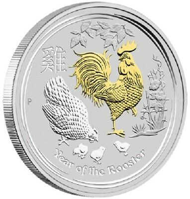 2017 $1 Australian Year of the Rooster - 1oz Silver Gilded Coin in Presentation