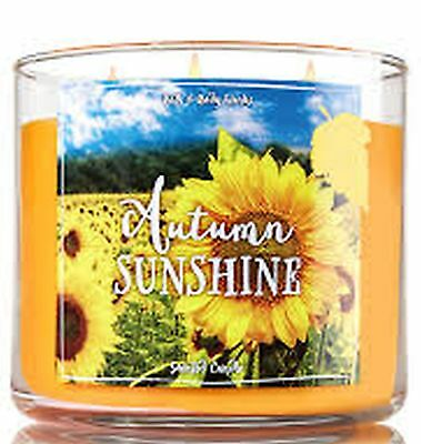 1 Bath & Body Works AUTUMN SUNSHINE Large Scented 3-Wick Candle 14.5 oz