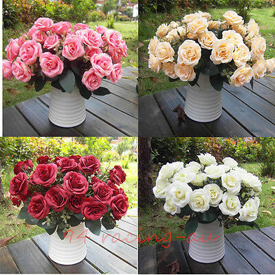 12Head artificiale falso Rose seta fiore matrimonio partito Bridal Bouquet Decor
