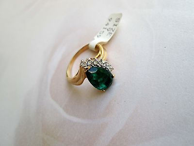 70er Vintage Designer Sarah Coventry sign. Ring Gr 9 19mm  faux Smaragt !