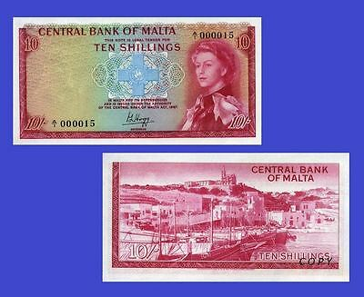 Malta currency 10 Shillings 1967. UNC - Reproduction