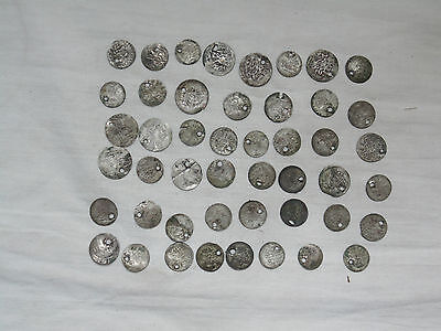 Lot 47 Antique Ottoman Empire Turkish Islamic Silver Akce Akche Drilled Coins *8