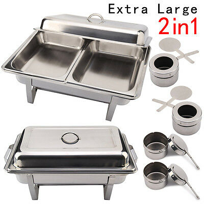 2X Stainless Steel Serving Chafing Dishes Sets Bowl With Lid Pans & Fuel Spoons