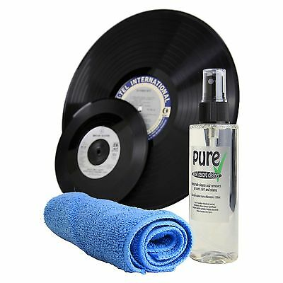 Pure Anti-static Vinyl Record LP Cleaning Solution and Microfibre Cleaning Cloth