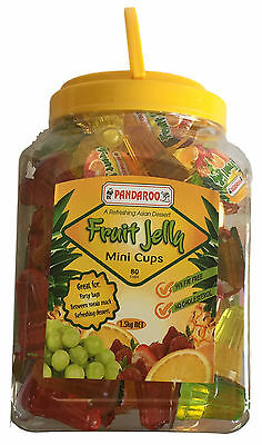 Bulk Lollies 80 Fruit Jelly Mini Cups 99% Fat Free 1.5Kg Lolly Party Favor Candy